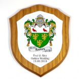 Coat of Arms Family Crest Oak Veneer 6 inch Shield Plaque PERSONALISED, ref FCOP